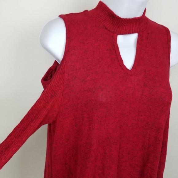 2ae2e5e36b BCX Medium Red Choker Dress Bodice Tunic Soft NWT